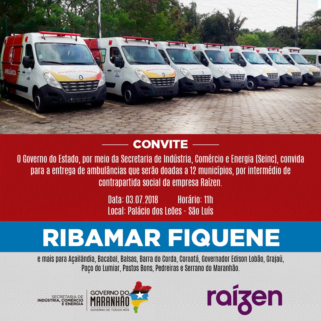 Município de Ribamar Fiquene vai a receber  ambulância doada pelo governo do estado