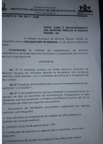 Servidores Efetivos do município de Ribamar Fiquene serão cadastrados a partir do dia 6