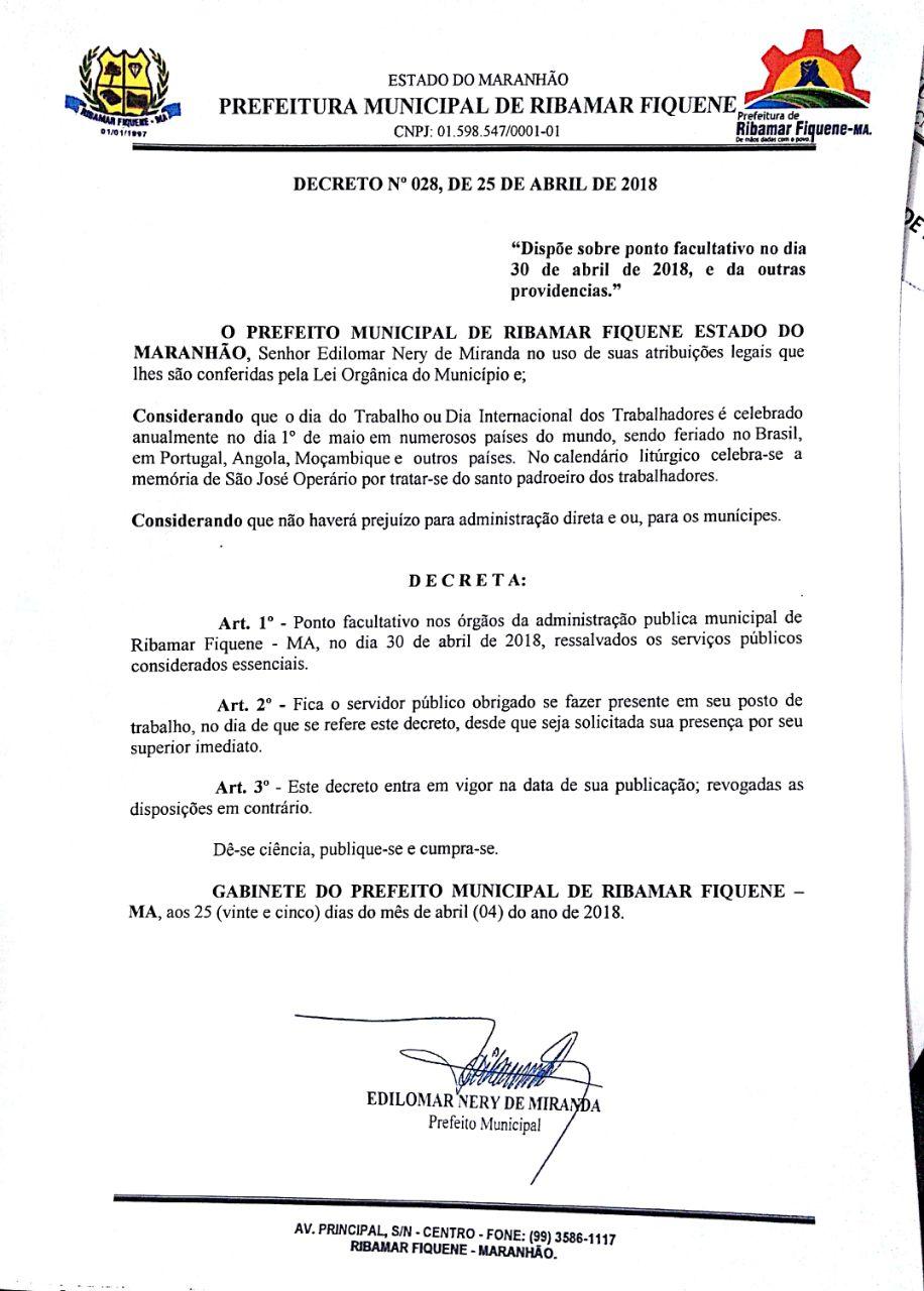 Decretado ponto facultativo no serviço público municipal no dia 30 de abril 2018
